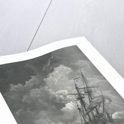 A ship scudding in a gale by Willem van de Velde the Elder