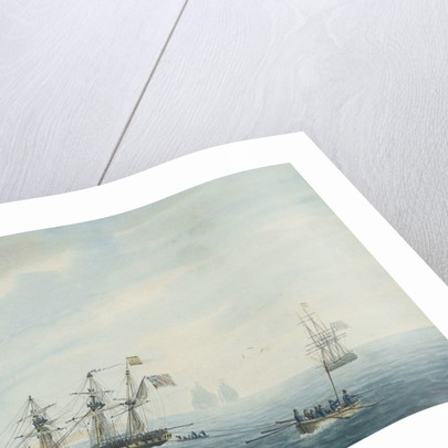 No.1. Thetis on shore near Currituck Inlet, North Carolina Dec 23rd 1794... Cleopatra at anchor near her. Thisbe and Lynx answering private signals by George Tobin
