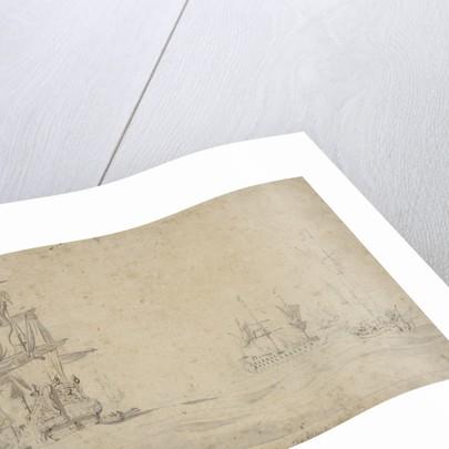 The 'Dordrecht' and 'Gideon' becalmed in a swell, May 1672? by Willem van de Velde the Elder