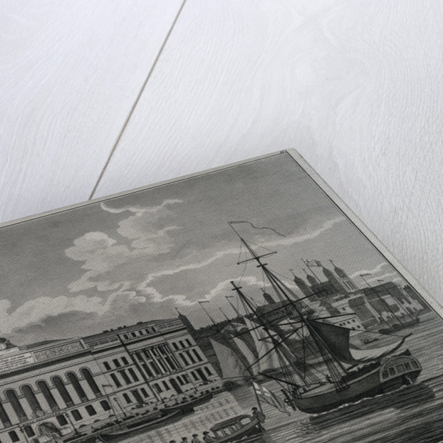 View of the New Custom House, taken from the river Thames by Richard Holmes Laurie