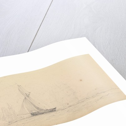 A cutter at sea with men of war and a headland in the distance by John Christian Schetky