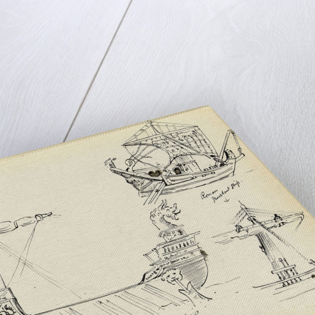 Sketch of a Roman warship, part of a Roman merchant ship and a vessel with sail set by John Everett