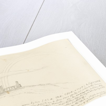 Small sketch of a rainbow. Shown with St Hilda's church Whitby. by S.E. Hardcastle