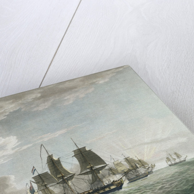 The East India Company's ship 'General Goddard' with His Majesty's ship 'Sceptre' and 'Swallow' packet capturing seven Dutch East Indiamen off St Helena, on the 14 June 1795 by Thomas Luny