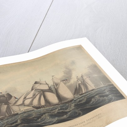 This Print representing the Waterford Line Schooners, Alexander..., Martha... and Rapid... off the Hook Light by John Lynn