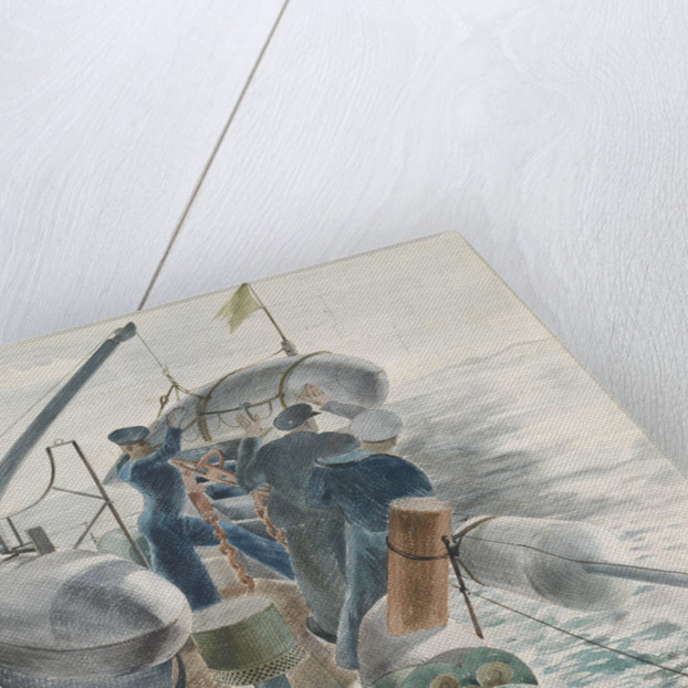 Minesweeping in the Straits of Gibraltar, swinging out an Oropesa by Leslie Cole