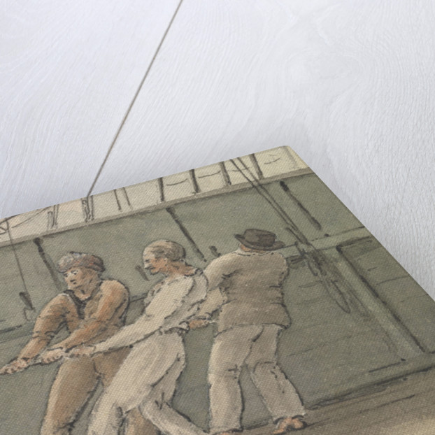 Deck scene with three men hauling on a rope by Robert Streatfeild