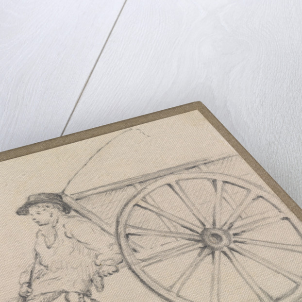 Small sketch of a farm-hand sitting on a cart by Robert Streatfeild