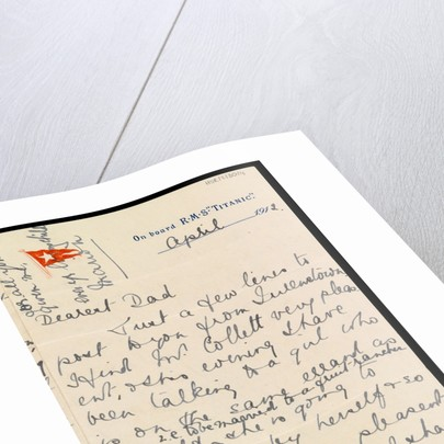 Letter from Marion Wright to her father, written onboard 'Titanic' on RMS 'TITANIC' headed paper by Marion Wright