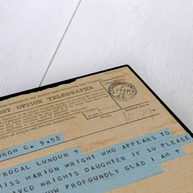 Telegram addressed to Marion's father, hopes Marion Wright listed as saved from 'Titanic' is their daughter by Marion Wright
