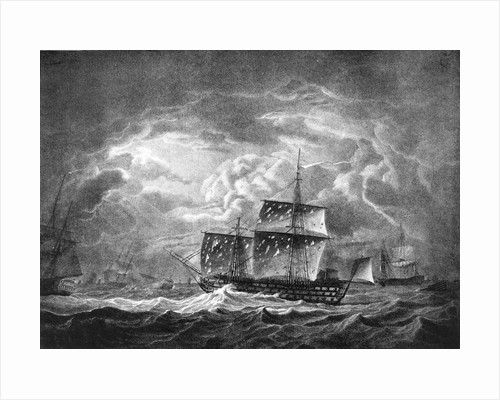 Victory... in the Gale that succeeded the Battle of Trafalgar,  the remains of... Nelson on board by Robert Dodd