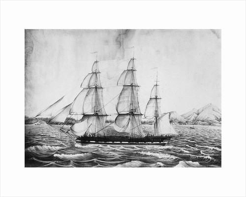 Florentia Captain Wimble, passing through Telleberry Roads February 1st 1825, coast of Malabar by Neve
