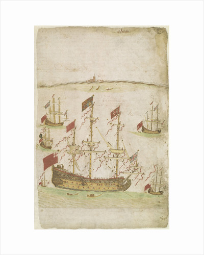 The 80-gun ship 'Royal Charles' (formerly 'Naseby' (launched 1655) until renaming in 1660) by Edward Barlow