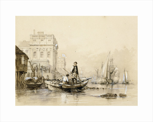 'Jack helping Freeman the fisherman' [off Greenwich Hospital]. Original illustration for Marryat's 'Poor Jack' (1840) by Clarkson Stanfield