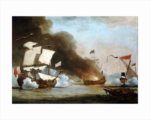 An English ship in action with Barbary Corsairs, circa 1680 by Willem Van de Velde the Younger