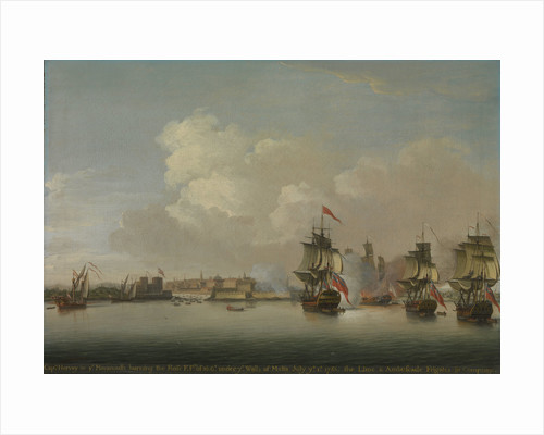 HMS 'Monmouth' burning the French frigate 'Rose', 1 July 1758 by Dominic Serres the Elder
