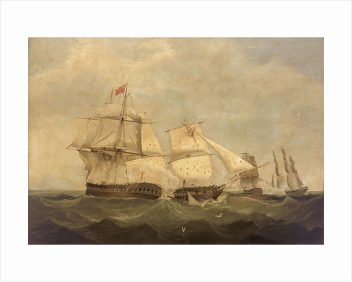 HMS 'Dido' and 'Lowestoft' in action with 'Minerve' and 'Artemise', 24 June 1795 by unknown