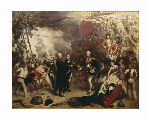 Admiral Duncan receiving the sword of the Dutch Admiral de Winter at the Battle of Camperdown, 11 October 1797 by Samuel Drummond