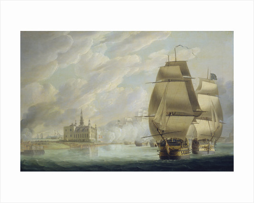 Nelson forcing the passage of the sound, 30 March 1801, prior to the Battle of Copenhagen by Robert Dodd