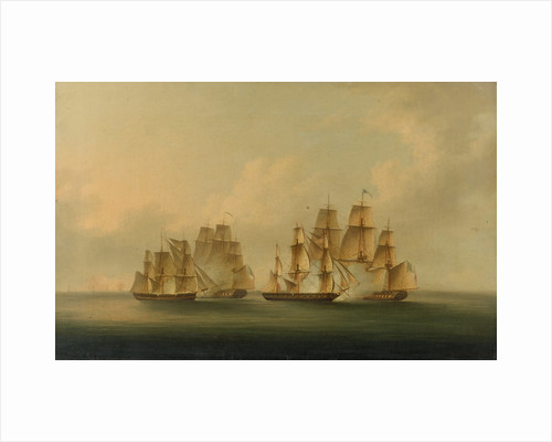 Action of HMS 'Arrow' and 'Acheron' against the French frigates 'Hortens'e and 'Incorruptible': beginning of the action, 4 February 1805 by Francis Sartorius
