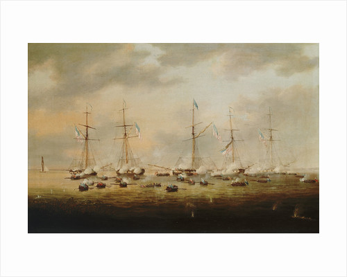 British and American gunboats in action on Lake Borgne, 14 December 1814 by Thomas Lyde Hornbrook