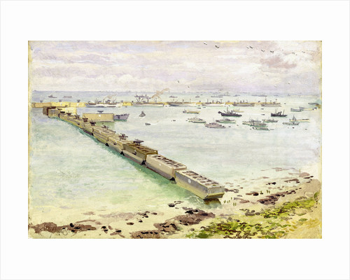 Mulberry harbour, Arromanches: Normandy landing, June 1944 by Stephen Bone