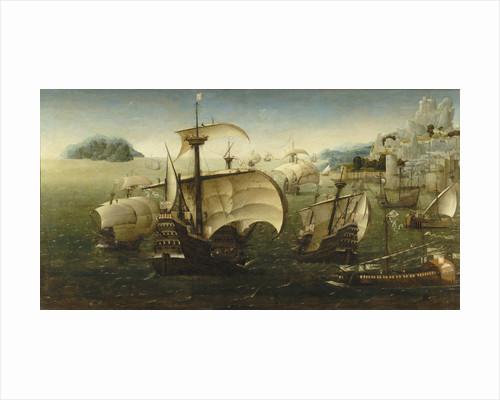 Portuguese carracks off a rocky coast by Joachim Patinir