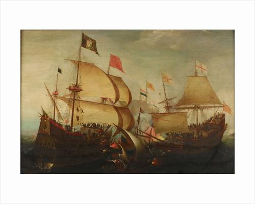 An English and a Dutch ship attacking a Spaniard by Aert Anthonisz