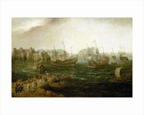 Ships trading in the east by Hendrick Cornelisz Vroom