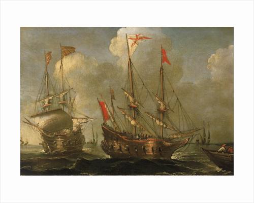 Spanish ships at anchor by Sebastian Castro