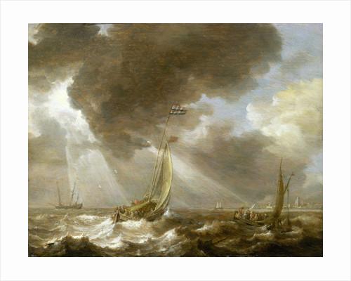 Dutch fishing boats in a fresh breeze by Bonaventura Peeters the Elder