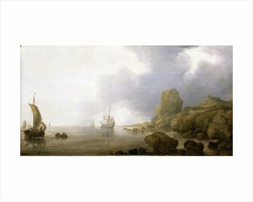 Ships becalmed on a rocky coast by Simon de Vlieger