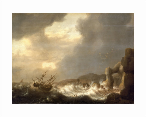 Ships wrecked on a rocky shore by Hendrick Staets