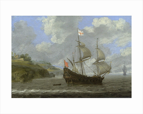 An English ship running towards a rocky coast by Tobias Flessiers