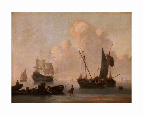 Dutch shipping with a raft near the shore by Willem Van de Velde the Younger