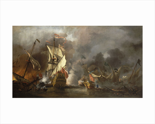 An English ship in action with Barbary pirates by Willem Van de Velde the Younger