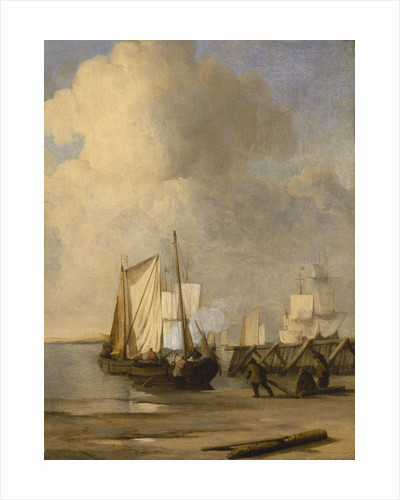 Calm: a kaag coming ashore by Willem Van de Velde the Younger