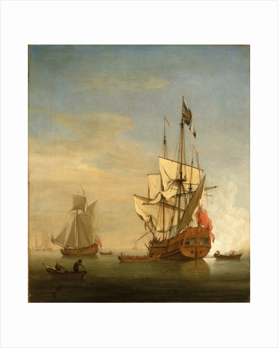 Calm: an English sixth-rate firing a salute by Willem Van de Velde the Younger
