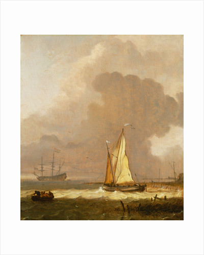 A kaag leaving the shore in stormy weather by Ludolf Bakhuizen
