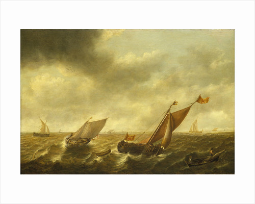 Fishing boats in a shallow sea by Jan Jacobsz van der Croos