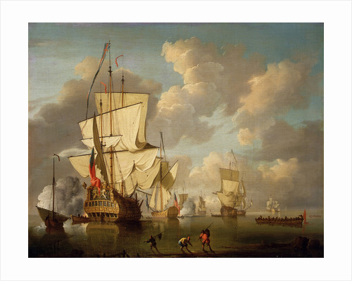 An English man-of-war and yachts in a calm by unknown