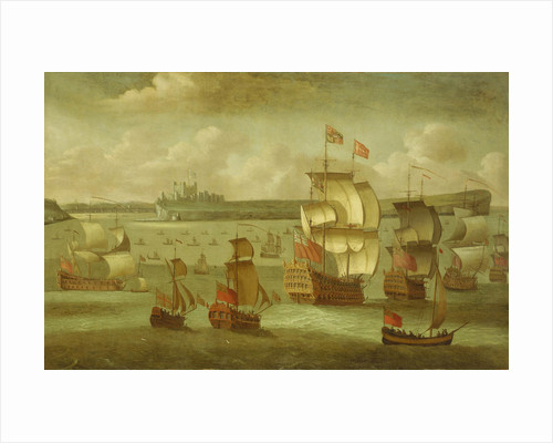 A ship flying the Royal Standard with other vessels by Isaac Sailmaker