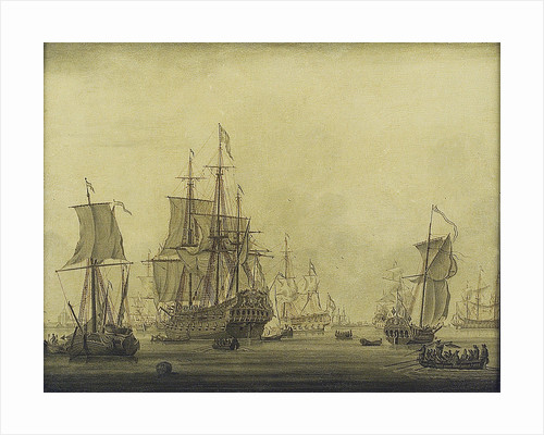 Calm: Dutch ships at anchor in a crowded harbour by Cornelis Bouwmeester