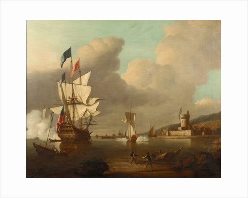 A ship saluting a fort by Peter Monamy