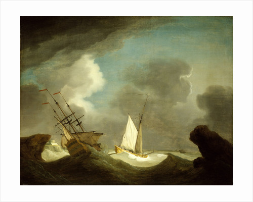 An Indiaman and a royal yacht in a storm off a rocky coast with a castle by Peter Monamy