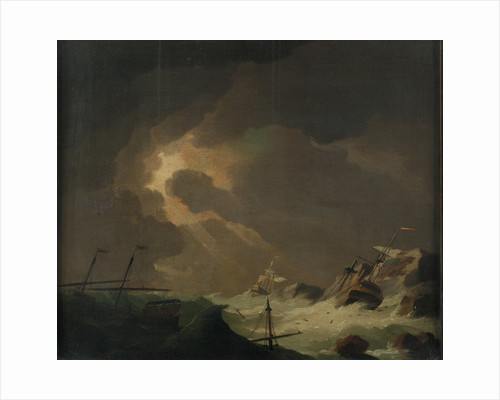 A galley with other vessels wrecked on a rocky coast by Charles Brooking