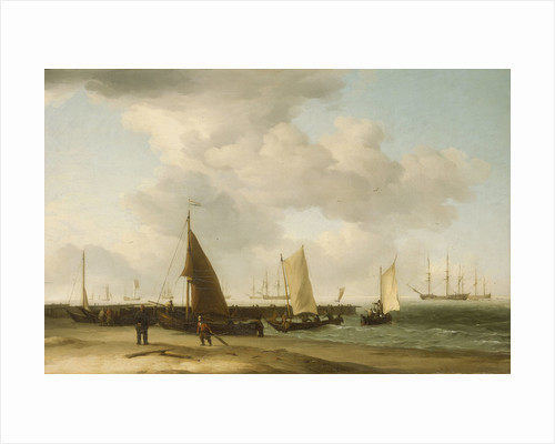 A beach scene with man-of-war in the distance by Charles Brooking