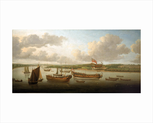 Launch of a 4th-rate on the river Orwell by John Cleveley
