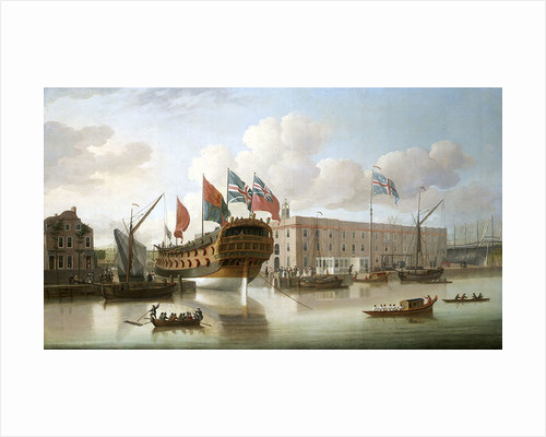 'St Albans' floated out at Deptford, 1747 by John Cleveley
