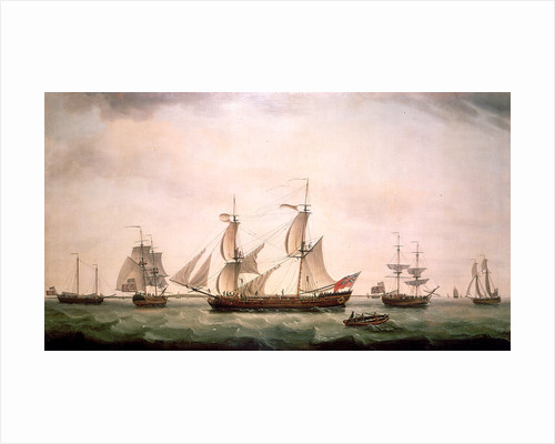 An English brig with captured American vessels by Francis Holman